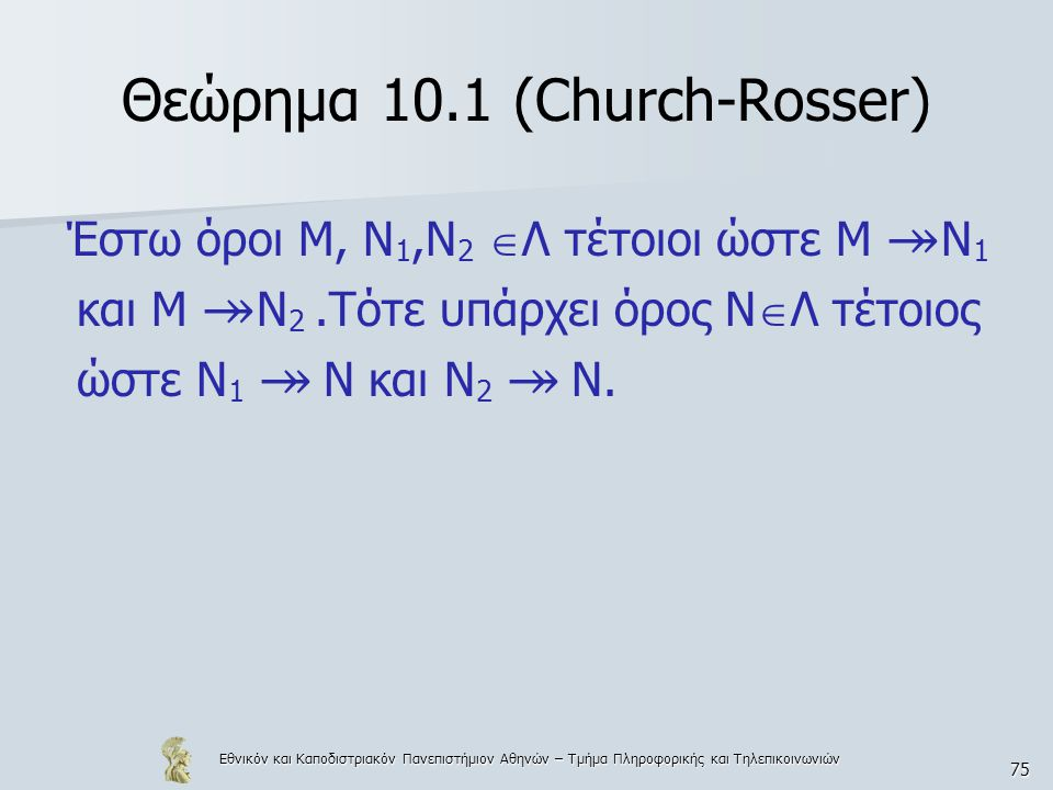 Εθνικόν και Καποδιστριακόν Πανεπιστήμιον Αθηνών – Τμήμα Πληροφορικής και Τηλεπικοινωνιών 75 Θεώρημα 10.1 (Church-Rosser) Έστω όροι Μ, Ν 1,Ν 2  Λ τέτοιοι ώστε Μ ↠ Ν 1 και Μ ↠ Ν 2.Τότε υπάρχει όρος Ν  Λ τέτοιος ώστε Ν 1 ↠ Ν και Ν 2 ↠ Ν.