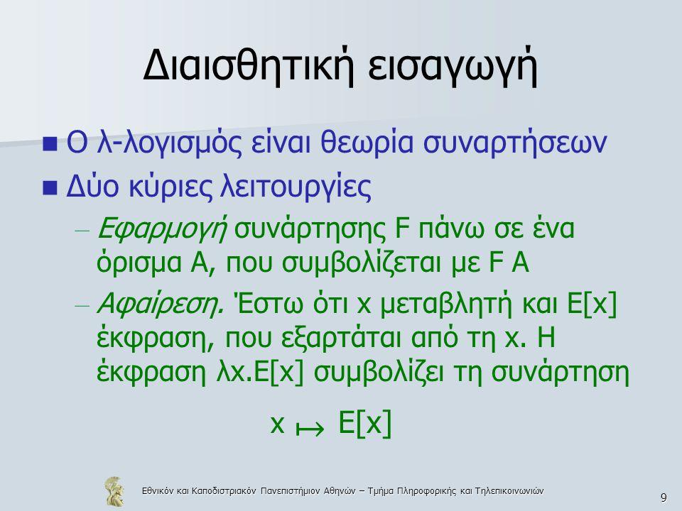 Εθνικόν και Καποδιστριακόν Πανεπιστήμιον Αθηνών – Τμήμα Πληροφορικής και Τηλεπικοινωνιών 20 Συμβάσεις Για απλοποίηση των λ-όρων και αποφυγή μεγάλου αριθμού παρενθέσεων (με αυστηρή τήρηση ορισμού 10.1) χρησιμοποιούνται οι συμβάσεις – Εξωτερικές παρενθέσεις δεν γράφονται  λx.x συντομογραφία του (λx.x) – Η εφαρμογή είναι αριστερά προσεταιριστική  F M 1 M 2 … M n συντομογραφία του (…((F M 1 )M 2 )… M n )