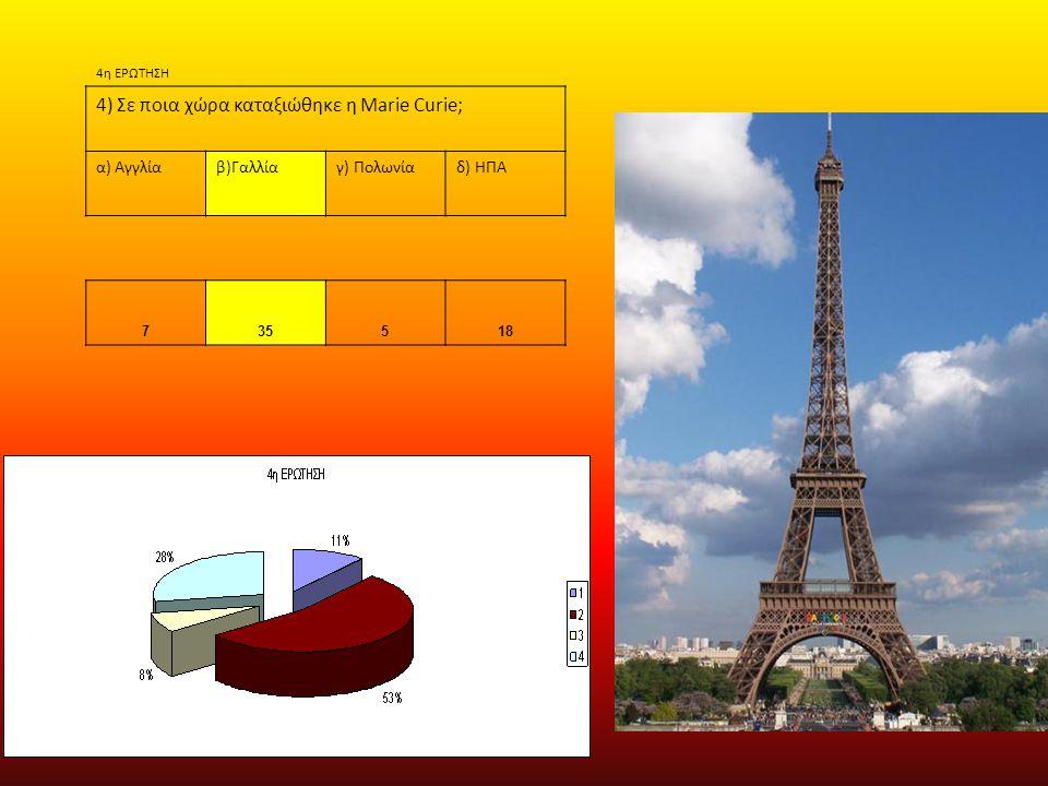 4η ΕΡΩΤΗΣΗ 4) Σε ποια χώρα καταξιώθηκε η Marie Curie; α) Αγγλίαβ)Γαλλίαγ) Πολωνίαδ) ΗΠΑ 735518