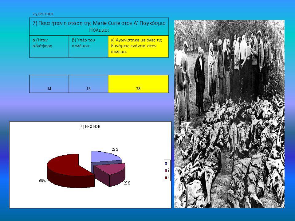 7η ΕΡΩΤΗΣΗ 7) Ποια ήταν η στάση της Marie Curie στον Α' Παγκόσμιο Πόλεμο; α) Ήταν αδιάφορη β) Υπέρ του πολέμου γ) Αγωνίστηκε με όλες τις δυνάμεις ενάντια στον πόλεμο.