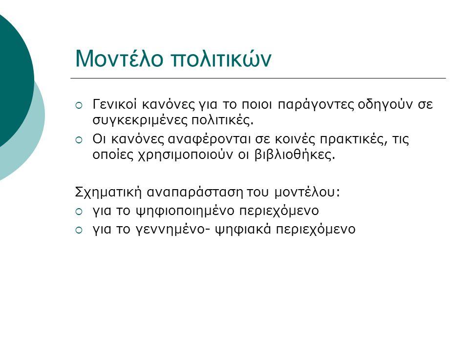 Μοντέλο πολιτικών  Γενικοί κανόνες για το ποιοι παράγοντες οδηγούν σε συγκεκριμένες πολιτικές.