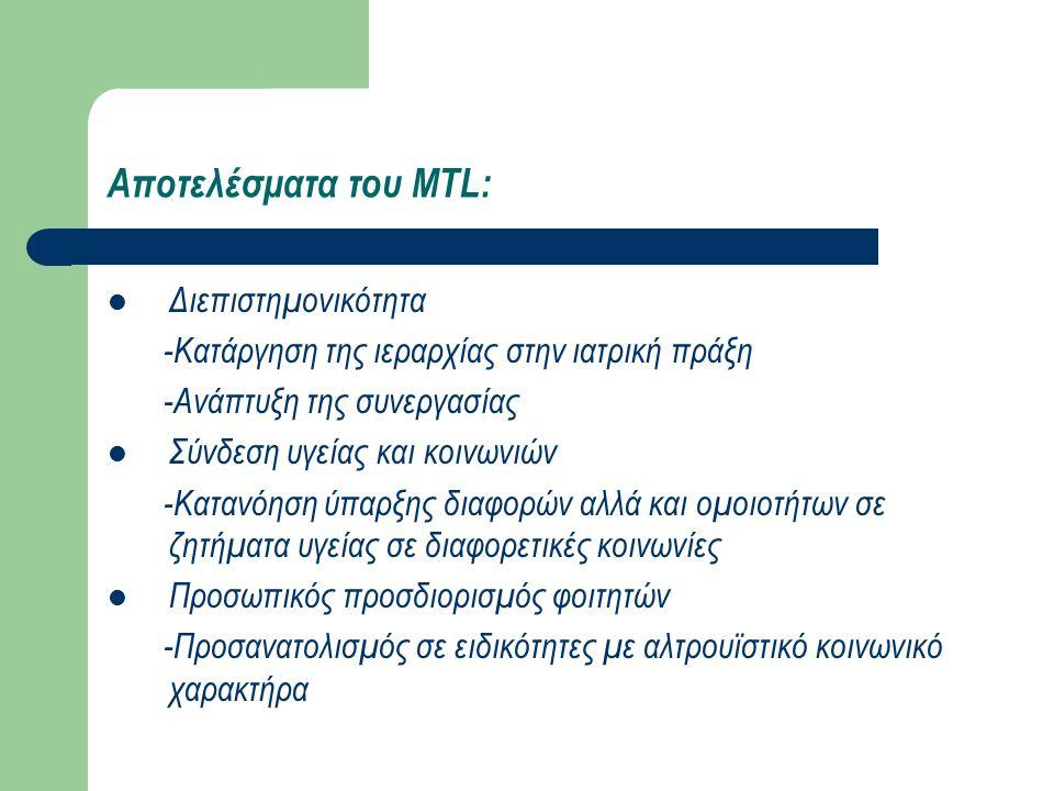 Αποτελέσματα του MTL: Διεπιστημονικότητα -Κατάργηση της ιεραρχίας στην ιατρική πράξη -Ανάπτυξη της συνεργασίας Σύνδεση υγείας και κοινωνιών -Κατανόηση ύπαρξης διαφορών αλλά και ομοιοτήτων σε ζητήματα υγείας σε διαφορετικές κοινωνίες Προσωπικός προσδιορισμός φοιτητών -Προσανατολισμός σε ειδικότητες με αλτρουϊστικό κοινωνικό χαρακτήρα