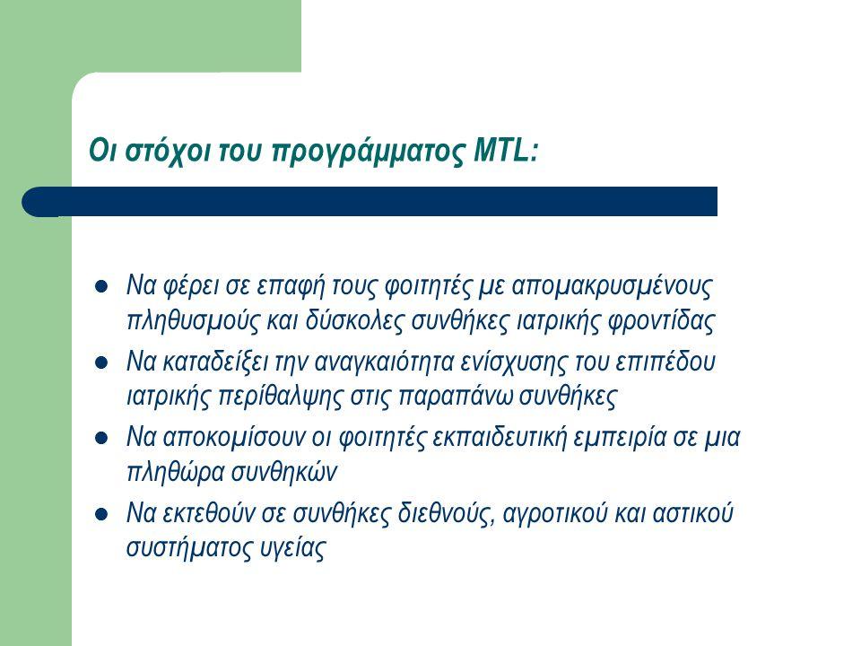 Οι στόχοι του προγράμματος MTL: Να φέρει σε επαφή τους φοιτητές με απομακρυσμένους πληθυσμούς και δύσκολες συνθήκες ιατρικής φροντίδας Να καταδείξει την αναγκαιότητα ενίσχυσης του επιπέδου ιατρικής περίθαλψης στις παραπάνω συνθήκες Να αποκομίσουν οι φοιτητές εκπαιδευτική εμπειρία σε μια πληθώρα συνθηκών Να εκτεθούν σε συνθήκες διεθνούς, αγροτικού και αστικού συστήματος υγείας