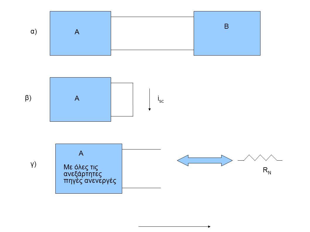 Α Β Αi sc A Με όλες τις ανεξάρτητες πηγές ανενεργές RNRN γ) β) α)