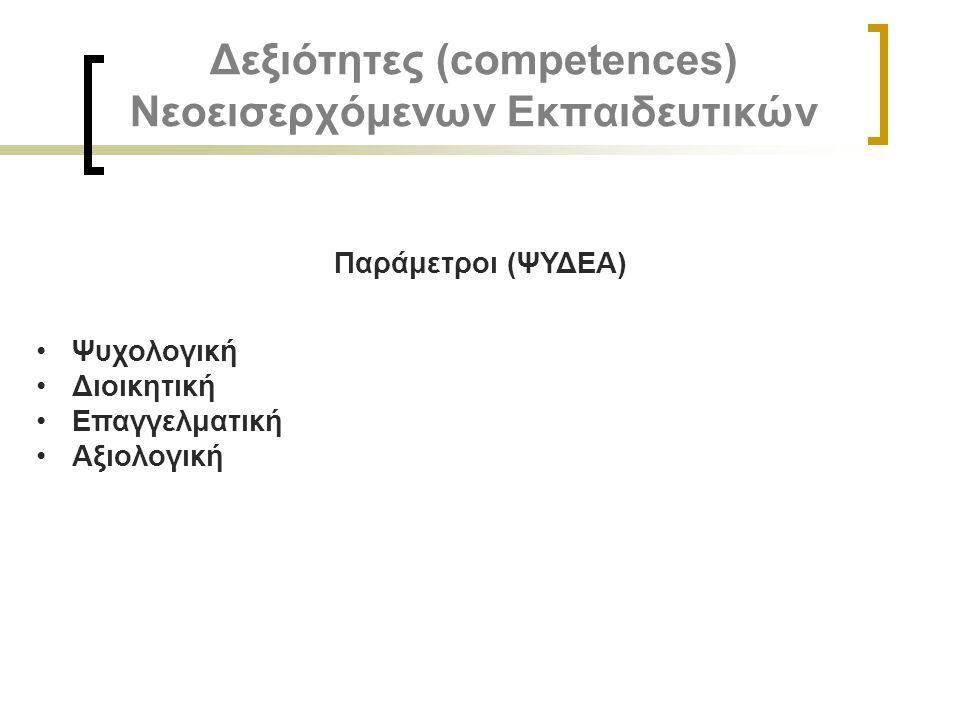 Δεξιότητες (competences) Νεοεισερχόμενων Εκπαιδευτικών Παράμετροι (ΨΥΔΕΑ) Ψυχολογική Διοικητική Επαγγελματική Αξιολογική
