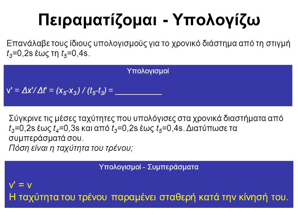 Πειραματίζομαι - Υπολογίζω Επανάλαβε τους ίδιους υπολογισμούς για το χρονικό διάστημα από τη στιγμή t 3 =0,2s έως τη t 5 =0,4s. Υπολογισμοί v' = Δx'/