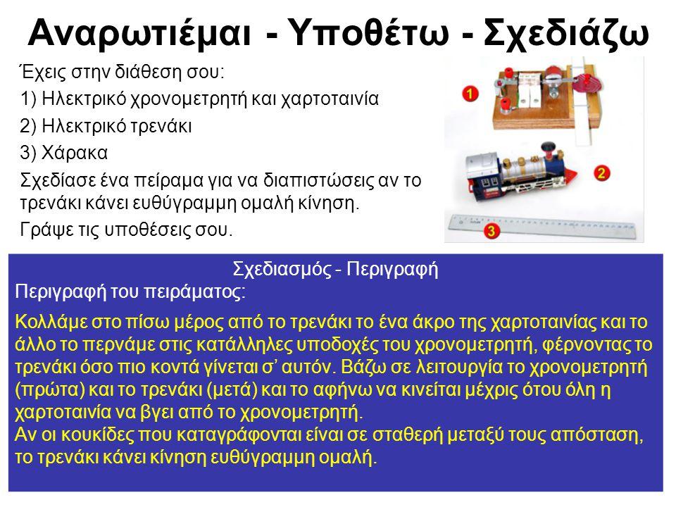 Αναρωτιέμαι - Υποθέτω - Σχεδιάζω Έχεις στην διάθεση σου: 1) Ηλεκτρικό χρονομετρητή και χαρτοταινία 2) Ηλεκτρικό τρενάκι 3) Χάρακα Σχεδίασε ένα πείραμα