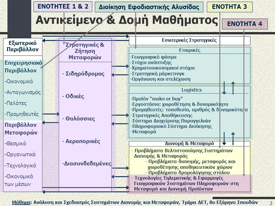 Μάθημα: Ανάλυση και Σχεδιασμός Συστημάτων Διανομής και Μεταφορών, Τμήμα ΔΕΤ, 8ο Εξάμηνο Σπουδών 2 Αντικείμενο & Δομή Μαθήματος Εξωτερικό Περιβάλλον Επιχειρησιακό Περιβάλλον -Οικονομικό -Ανταγωνισμός -Πελάτες -Προμηθευτές Περιβάλλον Μεταφορών -Θεσμικό -Οργανωτικό -Τεχνολογικό -Οικονομικά των μέσων Στρατηγικές & Ζήτηση Μεταφορών - Σιδηρόδρομος - Οδικές - Θαλάσσιες - Αεροπορικές -Διασυνδεδεμένες Εσωτερικές Στρατηγικές Εταιρικές -Γεωγραφικό φάσμα -Στόχοι ανάπτυξης -Χρηματοοικονομικοί στόχοι -Στρατηγική μάρκετινγκ -Οργάνωση και στελέχωση Logistics -Προϊόν make or buy -Εργοστάσια: χωροθέτηση & δυναμικότητα -Προμηθευτές: τοποθεσία, αριθμός & δυναμικότητα -Στρατηγικές Αποθήκευσης -Σύστημα Διαχείρισης Παραγγελιών -Πληροφοριακό Σύστημα Διοίκησης -Μεταφορά Διανομή & Μεταφορά - Προβλήματα Βελτιστοποίησης Συστημάτων Διανομής & Μεταφοράς - Προβλήματα διανομής, μεταφοράς και χωροθέτησης αποθηκευτικών χώρων - Προβλήματα δρομολόγησης στόλου - Τεχνολογίες Τηλεματικής & Εφαρμογές Γεωγραφικών Συστημάτων Πληροφοριών στη Μεταφορά και Διανομή Προϊόντων ΕΝΟΤΗΤΕΣ 1 & 2Διοίκηση Εφοδιαστικής ΑλυσίδαςΕΝΟΤΗΤΑ 3ΕΝΟΤΗΤΑ 4