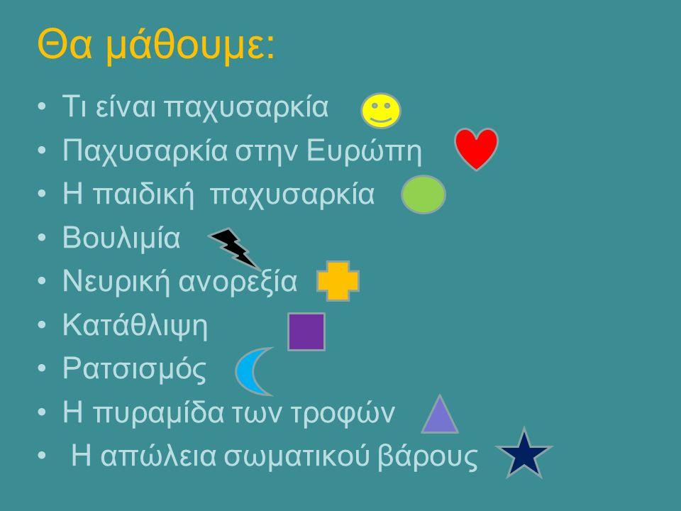 ΠΗΓΕΣ http://el.wikipedia.org http://www.naftemporiki.gr/story/871285/thliberi-protia- tis-elladas-stin-paidiki-paxusarkia http://www.neaygeia.gr/page.asp?p=402 http://www.imommy.gr/healthguide/article/367/paidikh- paxysarkia/ http://europa.eu/rapid/press-release_IP-14-94_el.htm http://ygeia.tanea.gr/default.asp?pid=8&ct=8&articleID=1 5402&la=1 http://www.arxizodiaita.gr/ http://www.medlook.net/