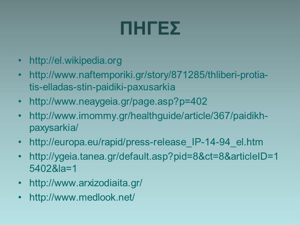 ΠΗΓΕΣ http://el.wikipedia.org http://www.naftemporiki.gr/story/871285/thliberi-protia- tis-elladas-stin-paidiki-paxusarkia http://www.neaygeia.gr/page