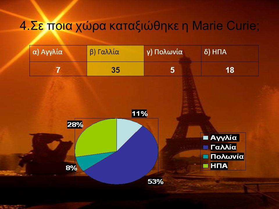 4.Σε ποια χώρα καταξιώθηκε η Marie Curie; α) Αγγλίαβ) Γαλλίαγ) Πολωνίαδ) ΗΠΑ 735518