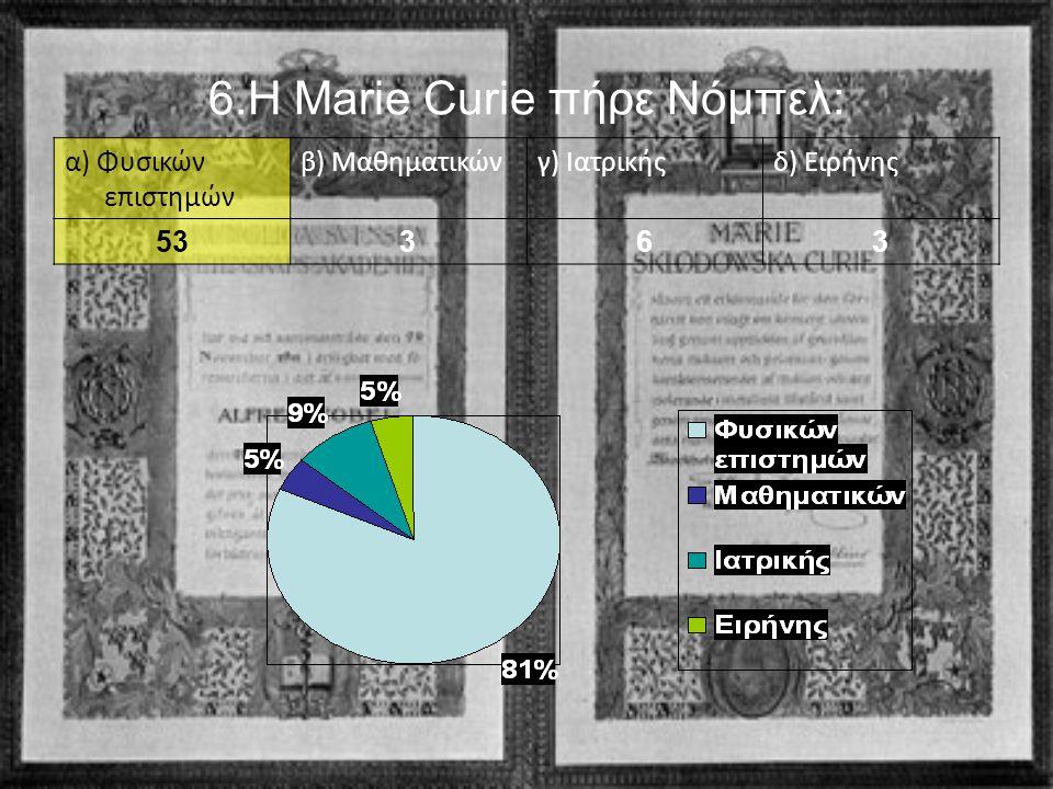 6.Η Marie Curie πήρε Νόμπελ: α) Φυσικών επιστημών β) Μαθηματικώνγ) Ιατρικήςδ) Ειρήνης 53363