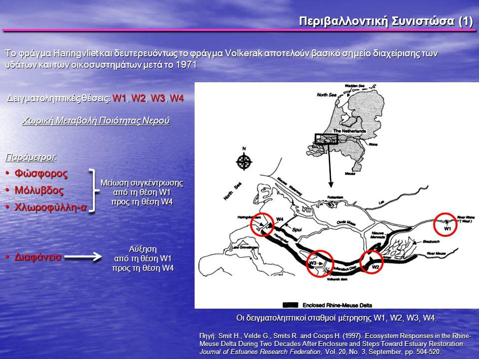 Περιβαλλοντική Συνιστώσα (1) Το φράγμα Haringvliet και δευτερευόντως το φράγμα Volkerak αποτελούν βασικό σημείο διαχείρισης των υδάτων και των οικοσυσ