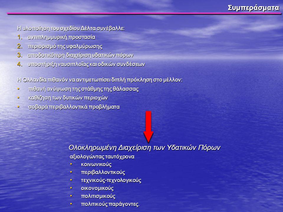 Συμπεράσματα Η υλοποίηση του σχεδίου Δέλτα συνέβαλλε: 1. αντιπλημμυρική προστασία 2. περιορισμό της υφαλμύρωσης 3. αποδοτικότερη διαχείριση υδατικών π