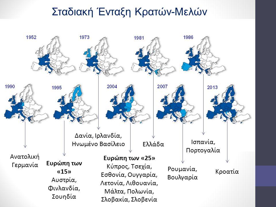 Δανία, Ιρλανδία, Ηνωμένο Βασίλειο Ελλάδα Ισπανία, Πορτογαλία Ανατολική Γερμανία Ευρώπη των «15» Αυστρία, Φινλανδία, Σουηδία Ευρώπη των «25» Κύπρος, Τσ