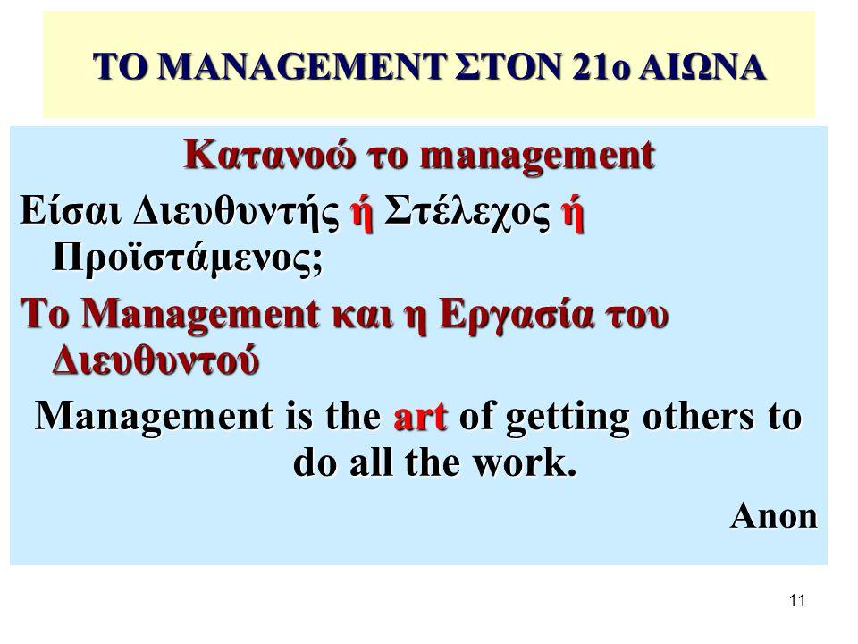 11 ΤΟ MANAGEMENT ΣΤΟΝ 21ο ΑΙΩΝΑ Κατανοώ το management Είσαι Διευθυντής ή Στέλεχος ή Προϊστάμενος; Το Management και η Εργασία του Διευθυντού Management is the art of getting others to do all the work.
