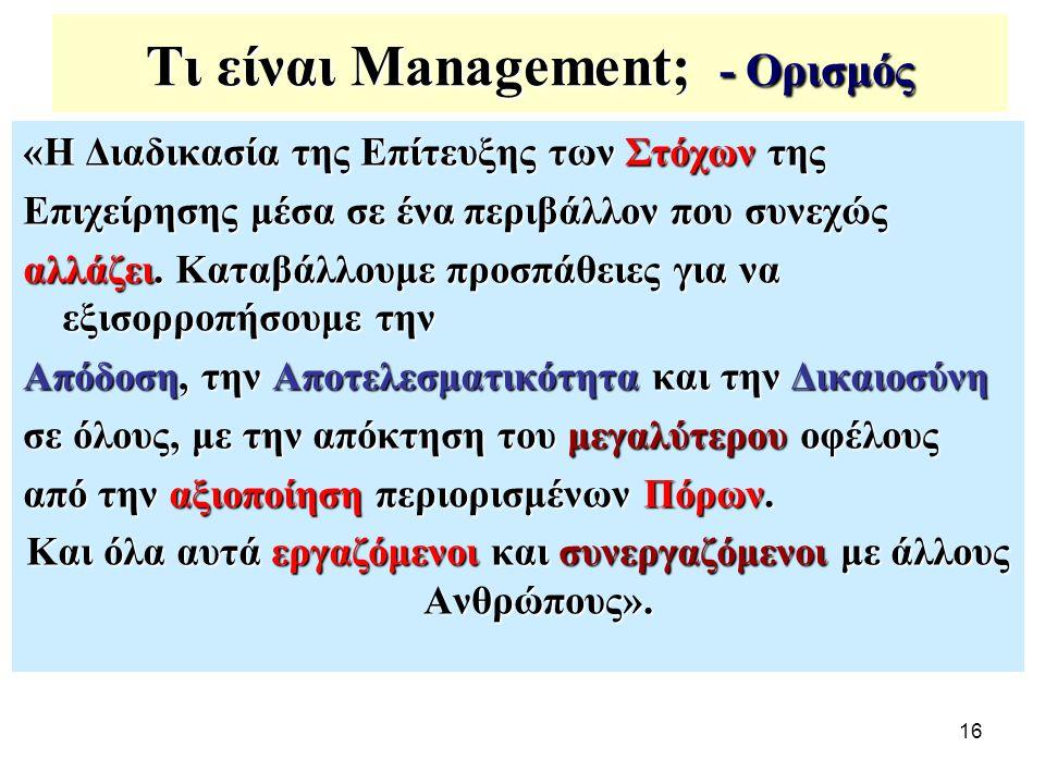 16 Τι είναι Management; - Ορισμός «Η Διαδικασία της Επίτευξης των Στόχων της Επιχείρησης μέσα σε ένα περιβάλλον που συνεχώς αλλάζει. Καταβάλλουμε προσ