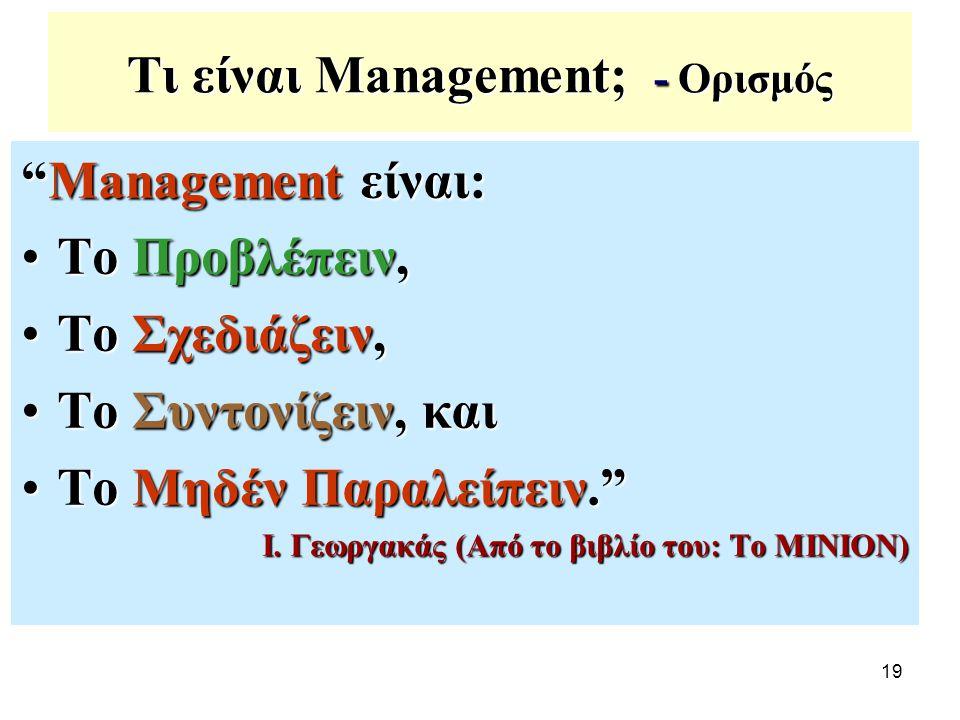 """19 Τι είναι Management; - Ορισμός """"Management είναι: Το Προβλέπειν,Το Προβλέπειν, Το Σχεδιάζειν,Το Σχεδιάζειν, Το Συντονίζειν, καιΤο Συντονίζειν, και"""
