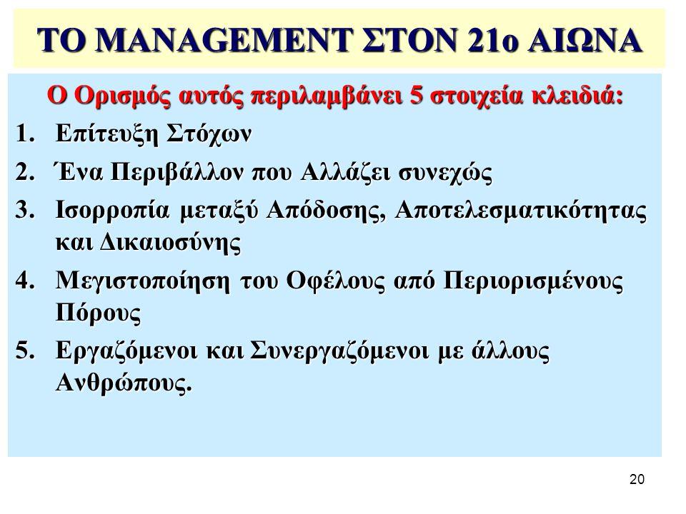 20 ΤΟ MANAGEMENT ΣΤΟΝ 21ο ΑΙΩΝΑ Ο Ορισμός αυτός περιλαμβάνει 5 στοιχεία κλειδιά: 1.Επίτευξη Στόχων 2.Ένα Περιβάλλον που Αλλάζει συνεχώς 3.Ισορροπία με