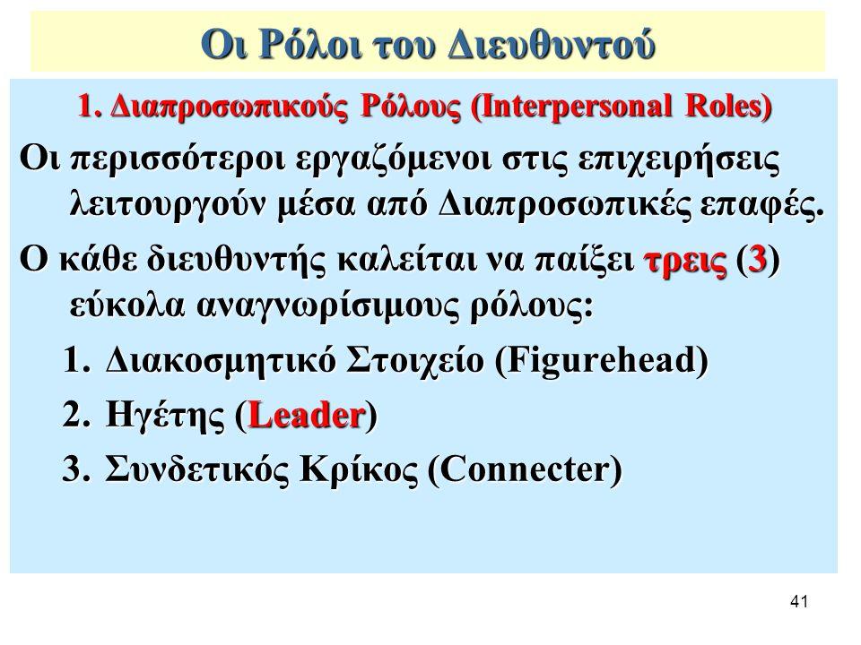 41 Οι Ρόλοι του Διευθυντού 1. Διαπροσωπικούς Ρόλους (Interpersonal Roles) Οι περισσότεροι εργαζόμενοι στις επιχειρήσεις λειτουργούν μέσα από Διαπροσωπ