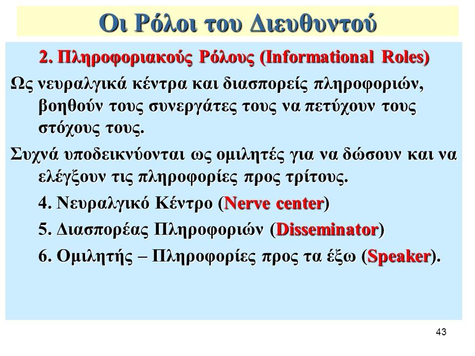 43 Οι Ρόλοι του Διευθυντού 2. Πληροφοριακούς Ρόλους (Informational Roles) Ως νευραλγικά κέντρα και διασπορείς πληροφοριών, βοηθούν τους συνεργάτες του