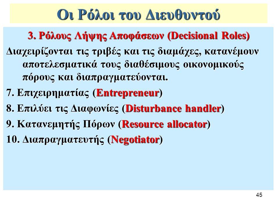 45 Οι Ρόλοι του Διευθυντού 3. Ρόλους Λήψης Αποφάσεων (Decisional Roles) Διαχειρίζονται τις τριβές και τις διαμάχες, κατανέμουν αποτελεσματικά τους δια