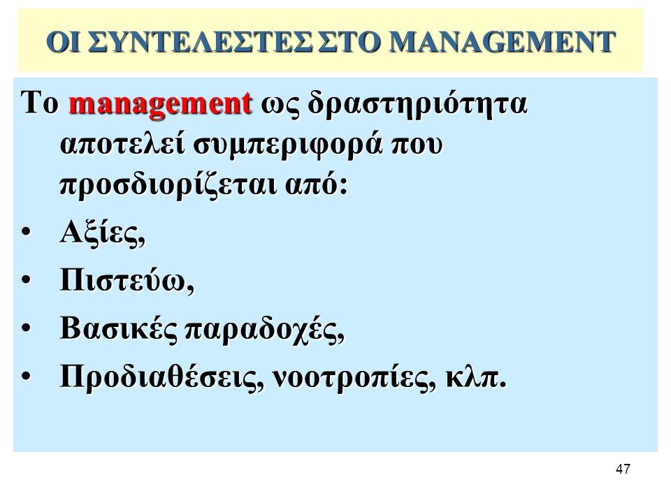 47 ΟΙ ΣΥΝΤΕΛΕΣΤΕΣ ΣΤΟ MANAGEMENT Το management ως δραστηριότητα αποτελεί συμπεριφορά που προσδιορίζεται από: Αξίες,Αξίες, Πιστεύω,Πιστεύω, Βασικές παρ