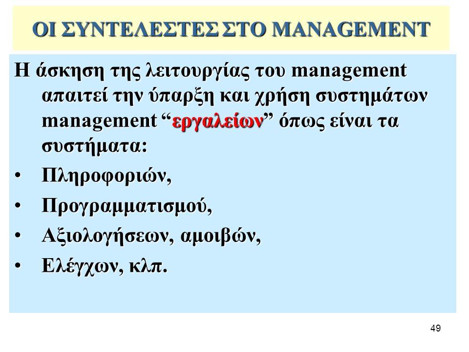 """49 ΟΙ ΣΥΝΤΕΛΕΣΤΕΣ ΣΤΟ MANAGEMENT Η άσκηση της λειτουργίας του management απαιτεί την ύπαρξη και χρήση συστημάτων management """"εργαλείων"""" όπως είναι τα"""