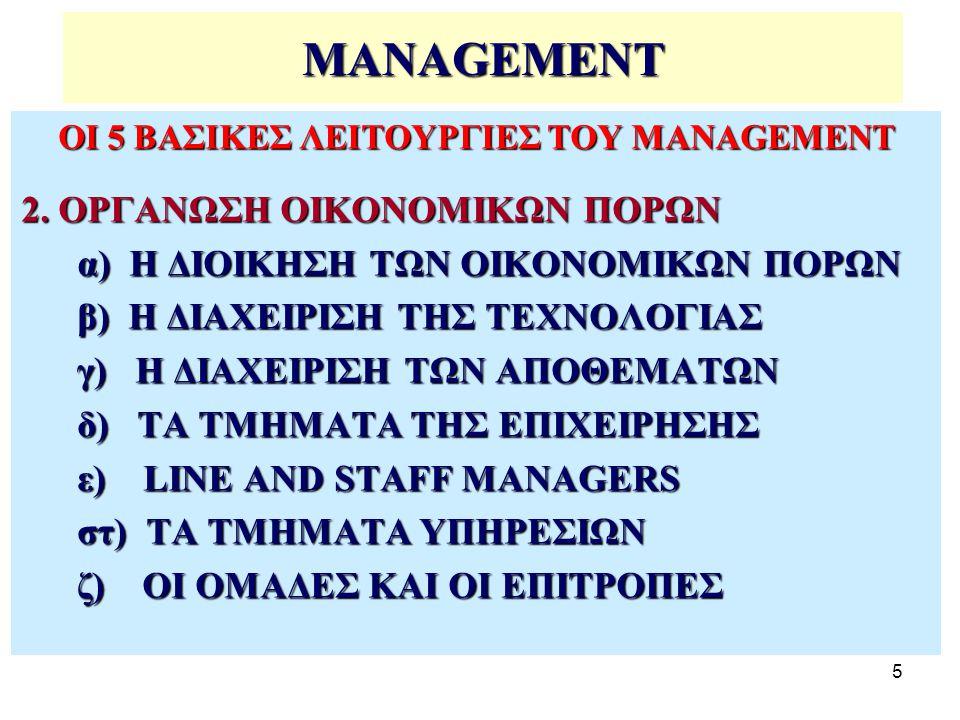 5 MANAGEMENT ΟΙ 5 ΒΑΣΙΚΕΣ ΛΕΙΤΟΥΡΓΙΕΣ ΤΟΥ MANAGEMENT 2.