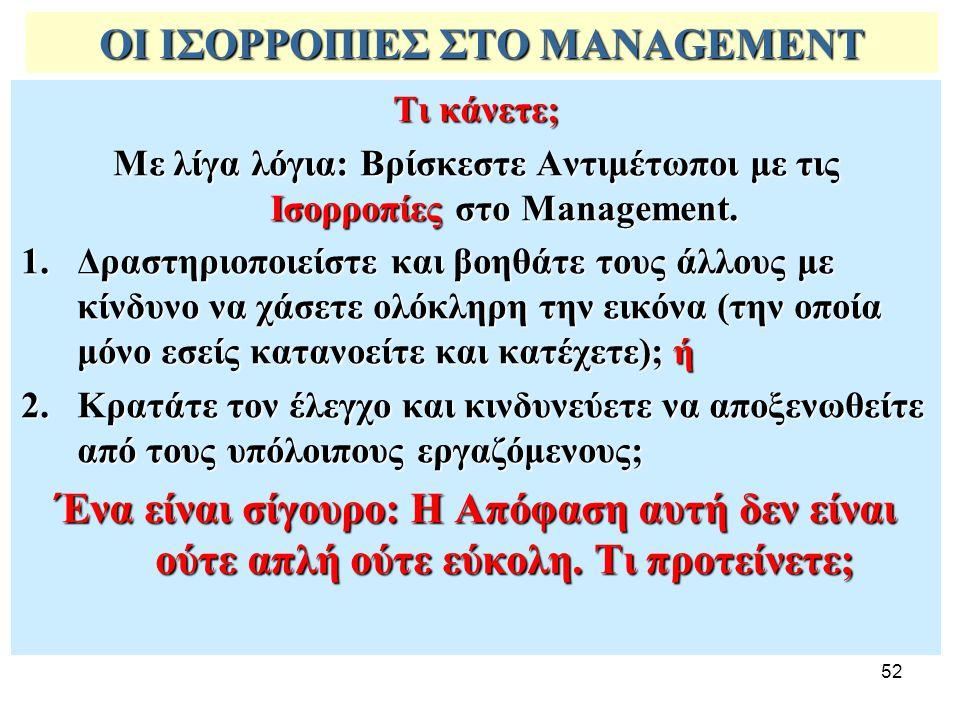 52 ΟΙ ΙΣΟΡΡΟΠΙΕΣ ΣΤΟ MANAGEMENT Τι κάνετε; Με λίγα λόγια: Βρίσκεστε Αντιμέτωποι με τις Ισορροπίες στο Management. 1.Δραστηριοποιείστε και βοηθάτε τους