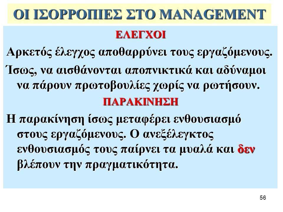 56 ΟΙ ΙΣΟΡΡΟΠΙΕΣ ΣΤΟ MANAGEMENT ΕΛΕΓΧΟΙ Αρκετός έλεγχος αποθαρρύνει τους εργαζόμενους.