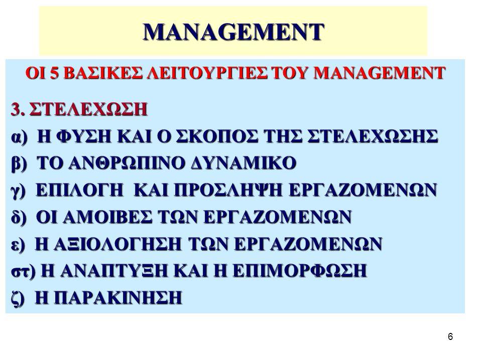 47 ΟΙ ΣΥΝΤΕΛΕΣΤΕΣ ΣΤΟ MANAGEMENT Το management ως δραστηριότητα αποτελεί συμπεριφορά που προσδιορίζεται από: Αξίες,Αξίες, Πιστεύω,Πιστεύω, Βασικές παραδοχές,Βασικές παραδοχές, Προδιαθέσεις, νοοτροπίες, κλπ.Προδιαθέσεις, νοοτροπίες, κλπ.