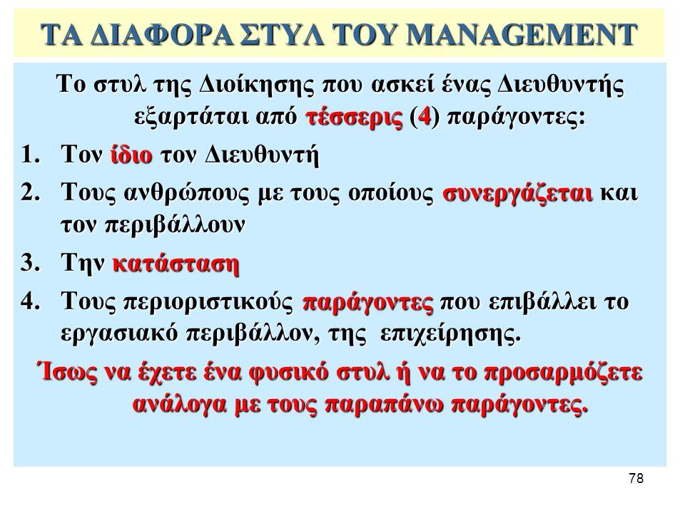 78 ΤΑ ΔΙΑΦΟΡΑ ΣΤΥΛ ΤΟΥ MANAGEMENT Το στυλ της Διοίκησης που ασκεί ένας Διευθυντής εξαρτάται από τέσσερις (4) παράγοντες: 1.Τον ίδιο τον Διευθυντή 2.Τους ανθρώπους με τους οποίους συνεργάζεται και τον περιβάλλουν 3.Την κατάσταση 4.Τους περιοριστικούς παράγοντες που επιβάλλει το εργασιακό περιβάλλον, της επιχείρησης.
