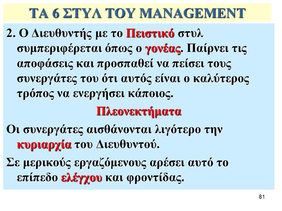 81 ΤΑ 6 ΣΤΥΛ ΤΟΥ MANAGEMENT 2. Ο Διευθυντής με το Πειστικό στυλ συμπεριφέρεται όπως ο γονέας. Παίρνει τις αποφάσεις και προσπαθεί να πείσει τους συνερ