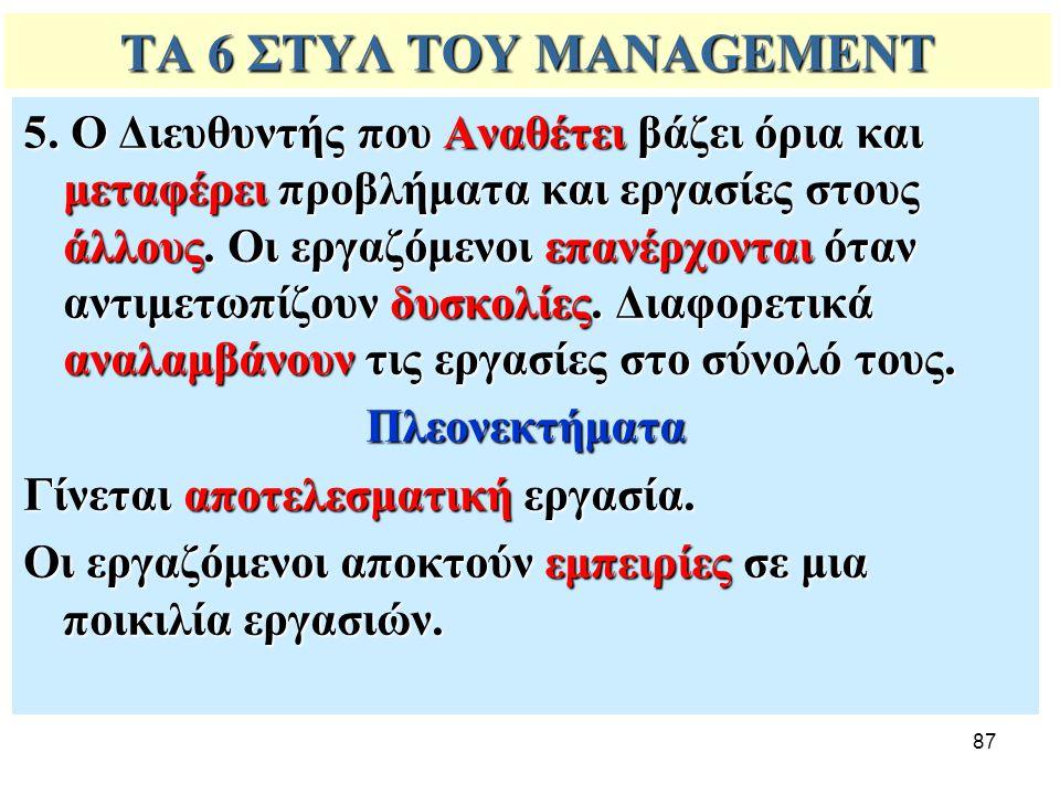 87 ΤΑ 6 ΣΤΥΛ ΤΟΥ MANAGEMENT 5. Ο Διευθυντής που Αναθέτει βάζει όρια και μεταφέρει προβλήματα και εργασίες στους άλλους. Οι εργαζόμενοι επανέρχονται ότ
