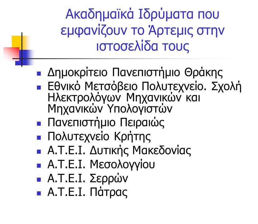 Ακαδημαϊκά Ιδρύματα που εμφανίζουν το Άρτεμις στην ιστοσελίδα τους Δημοκρίτειο Πανεπιστήμιο Θράκης Εθνικό Μετσόβειο Πολυτεχνείο.