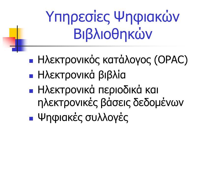 Υπηρεσίες Ψηφιακών Βιβλιοθηκών Ηλεκτρονικός κατάλογος (OPAC) Ηλεκτρονικά βιβλία Ηλεκτρονικά περιοδικά και ηλεκτρονικές βάσεις δεδομένων Ψηφιακές συλλογές