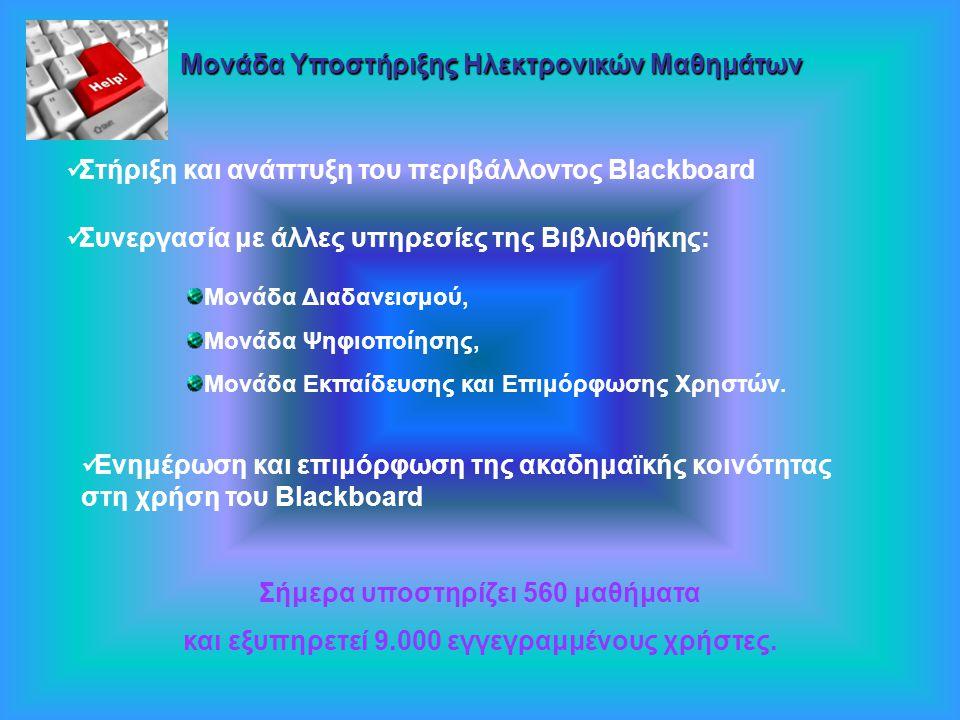 Μονάδα Υ ΥΥ Υποστήριξης Ηλεκτρονικών Μαθημάτων Στήριξη και ανάπτυξη του περιβάλλοντος Blackboard Συνεργασία με άλλες υπηρεσίες της Βιβλιοθήκης: Μονάδα