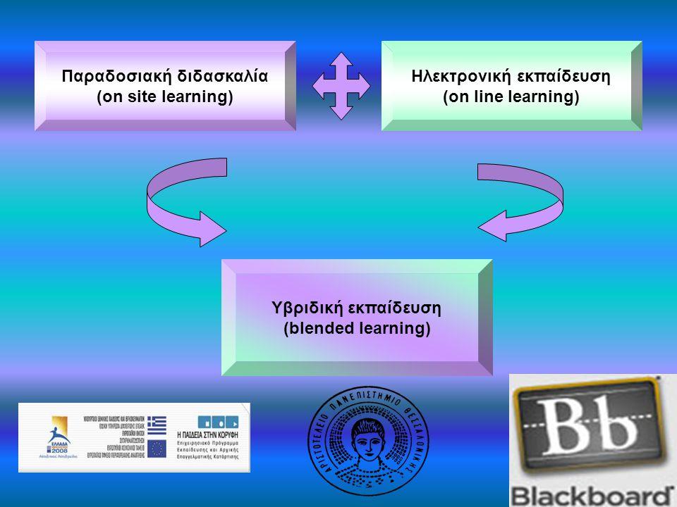 Υβριδική εκπαίδευση (blended learning) Επιλύει προβλήματα:  Περιορισμένης συμμετοχής φοιτητών  Περιορισμένης διάδρασης διδασκόντων-διδασκομένων  Μετακίνησης (απομακρυσμένοι φοιτητές, Α.Μ.Ε.Α.)  Διαθέσιμου χρόνου  Ανεπάρκειας αιθουσών διδασκαλίας  Ανεπάρκειας εποπτικών μέσων Πλεονεκτήματα υβριδικής εκπαίδευσης: Ευελιξία προσαρμογής στις εκάστοτε μαθησιακές ανάγκες Πολλαπλές δυνατότητες επικοινωνίας συμμετεχόντων Υποστήριξη μαθήματος με πλούτο ηλεκτρονικών πηγών Καλύτερη διαχείριση χρόνου Απεριόριστος αριθμός διαθέσιμων συγγραμμάτων Προβλήματα που ανακύπτουν κατά την εφαρμογή:  Έλλειψη εξοικείωσης με τις νέες τεχνολογίες  Έλλειψη κατάλληλων υλικοτεχνικών υποδομών  Αναπροσαρμογή του μαθήματος στα νέα δεδομένα