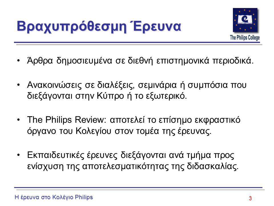 3 Βραχυπρόθεσμη Έρευνα Άρθρα δημοσιευμένα σε διεθνή επιστημονικά περιοδικά. Ανακοινώσεις σε διαλέξεις, σεμινάρια ή συμπόσια που διεξάγονται στην Κύπρο