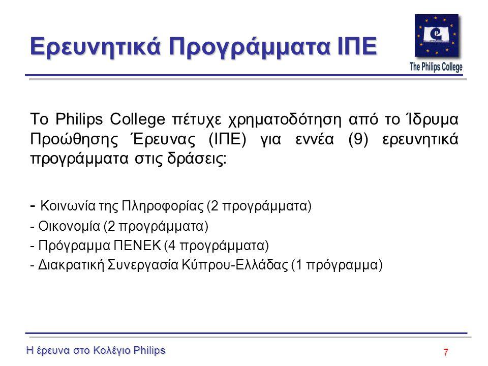 7 Ερευνητικά Προγράμματα ΙΠΕ Το Philips College πέτυχε χρηματοδότηση από το Ίδρυμα Προώθησης Έρευνας (ΙΠΕ) για εννέα (9) ερευνητικά προγράμματα στις δράσεις: - Κοινωνία της Πληροφορίας (2 προγράμματα) - Οικονομία (2 προγράμματα) - Πρόγραμμα ΠΕΝΕΚ (4 προγράμματα) - Διακρατική Συνεργασία Κύπρου-Ελλάδας (1 πρόγραμμα) Η έρευνα στο Κολέγιο Philips