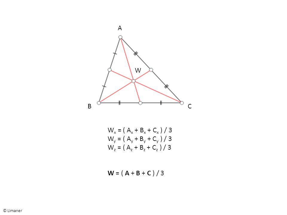 © Limaner A BC W W x = ( A x + B x + C x ) / 3 W y = ( A y + B y + C y ) / 3 W z = ( A z + B z + C z ) / 3 W = ( A + B + C ) / 3
