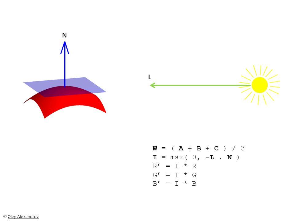 N L W = ( A + B + C ) / 3 I = max( 0, -L. N ) R' = I * R G' = I * G B' = I * B