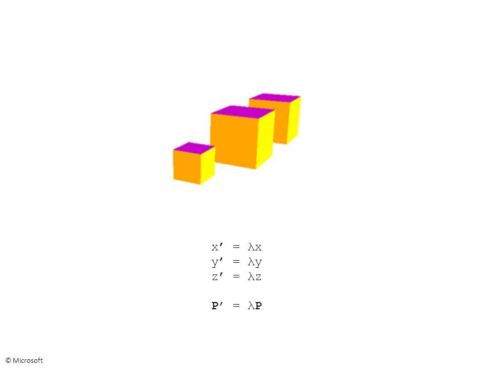 x' = λx y' = λy z' = λz P' = λP © Microsoft