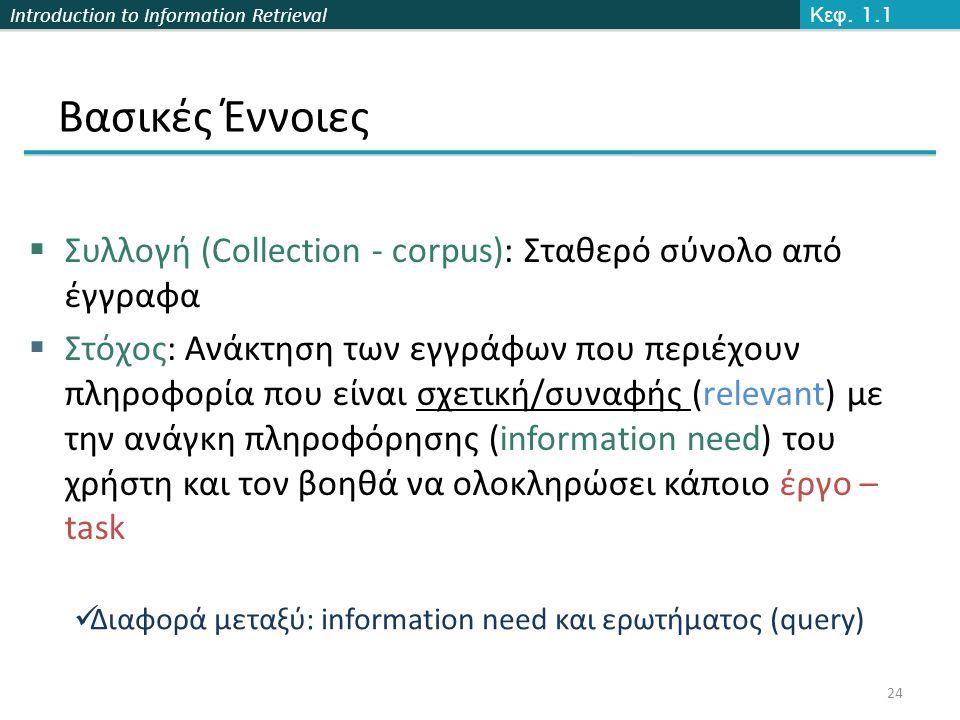 Introduction to Information Retrieval Βασικές Έννοιες  Συλλογή (Collection - corpus): Σταθερό σύνολο από έγγραφα  Στόχος: Ανάκτηση των εγγράφων που περιέχουν πληροφορία που είναι σχετική/συναφής (relevant) με την ανάγκη πληροφόρησης (information need) του χρήστη και τον βοηθά να ολοκληρώσει κάποιο έργο – task 24 Κεφ.