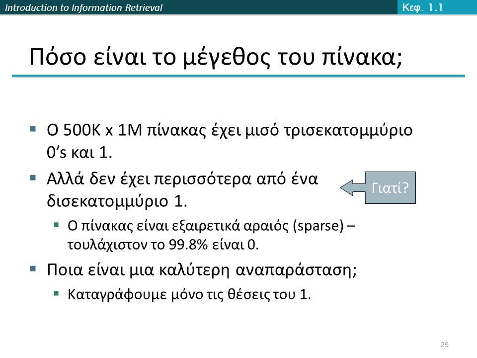 Introduction to Information Retrieval Πόσο είναι το μέγεθος του πίνακα;  Ο 500K x 1M πίνακας έχει μισό τρισεκατομμύριο 0's και 1.