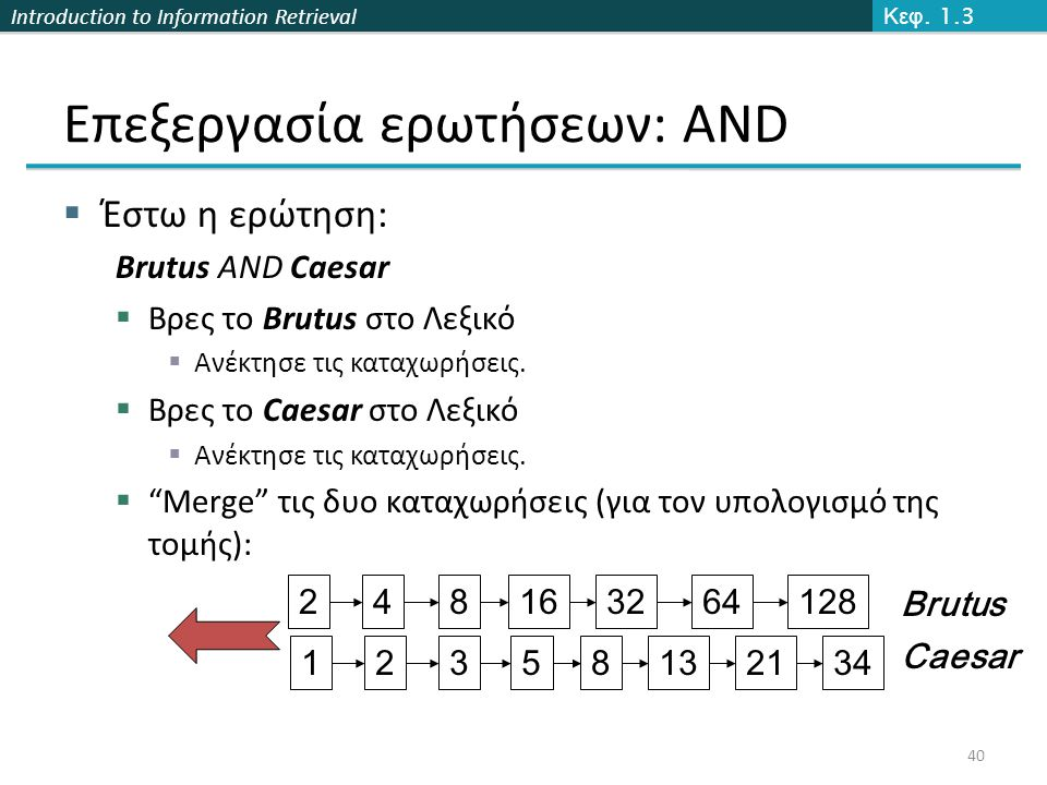 Introduction to Information Retrieval Επεξεργασία ερωτήσεων: AND  Έστω η ερώτηση: Brutus AND Caesar  Βρες το Brutus στο Λεξικό  Ανέκτησε τις καταχωρήσεις.