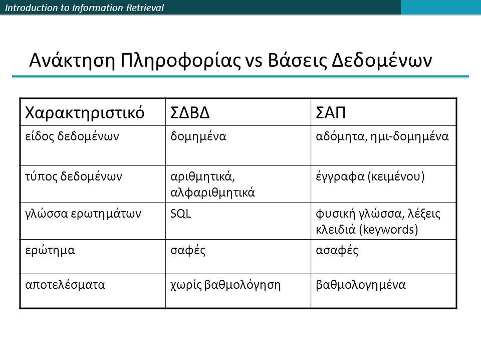 Introduction to Information Retrieval Ανάκτηση Πληροφορίας vs Βάσεις Δεδομένων ΧαρακτηριστικόΣΔΒΔΣΑΠ είδος δεδομένωνδομημένααδόμητα, ημι-δομημένα τύπος δεδομένωναριθμητικά, αλφαριθμητικά έγγραφα (κειμένου) γλώσσα ερωτημάτωνSQLφυσική γλώσσα, λέξεις κλειδιά (keywords) ερώτημασαφέςασαφές αποτελέσματαχωρίς βαθμολόγησηβαθμολογημένα