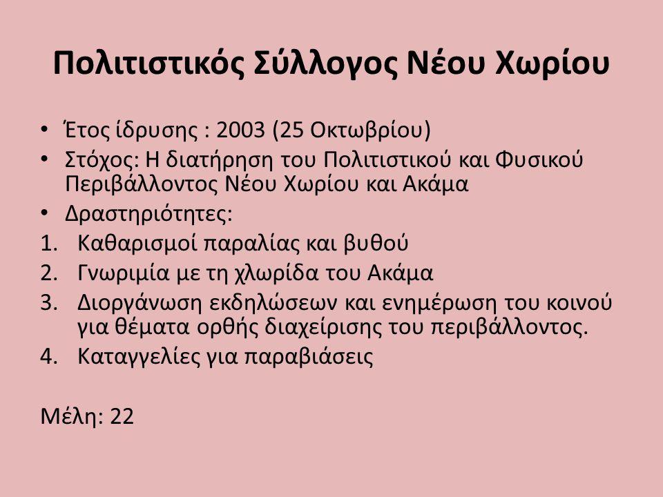 Πολιτιστικός Σύλλογος Νέου Χωρίου Έτος ίδρυσης : 2003 (25 Οκτωβρίου) Στόχος: Η διατήρηση του Πολιτιστικού και Φυσικού Περιβάλλοντος Νέου Χωρίου και Ακάμα Δραστηριότητες: 1.Καθαρισμοί παραλίας και βυθού 2.Γνωριμία με τη χλωρίδα του Ακάμα 3.Διοργάνωση εκδηλώσεων και ενημέρωση του κοινού για θέματα ορθής διαχείρισης του περιβάλλοντος.
