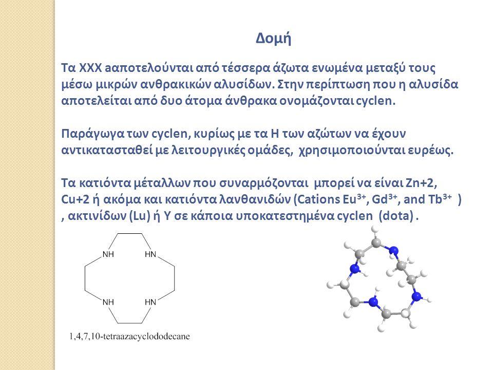 Δομή Τα XXX aαποτελούνται από τέσσερα άζωτα ενωμένα μεταξύ τους μέσω μικρών ανθρακικών αλυσίδων.